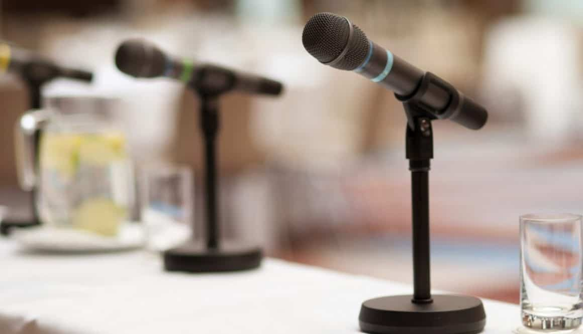 Microphones at conference audio visual integration